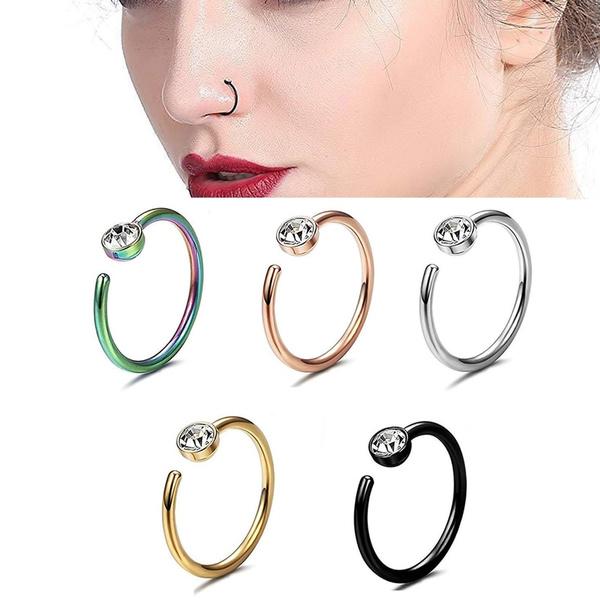 rhinestonenosering, Jewelry, septumring, fauxnosering