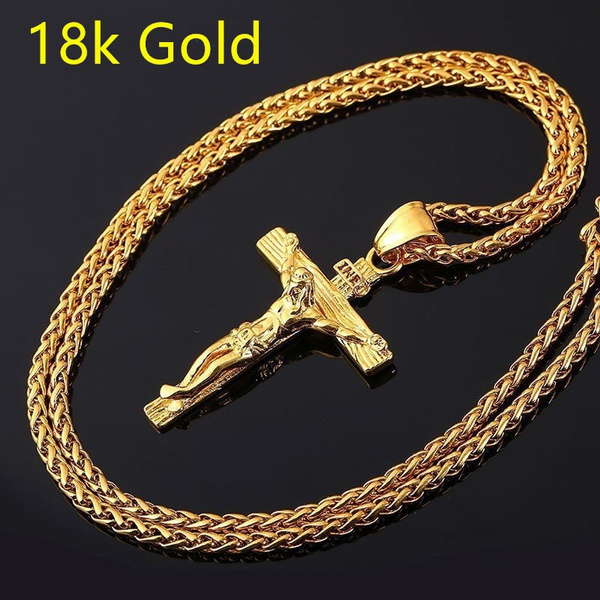 mens necklaces, Christian, Cross necklace, gold