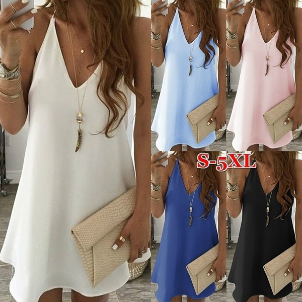 Summer, Plus Size, Deep V-neck Dress, Mini