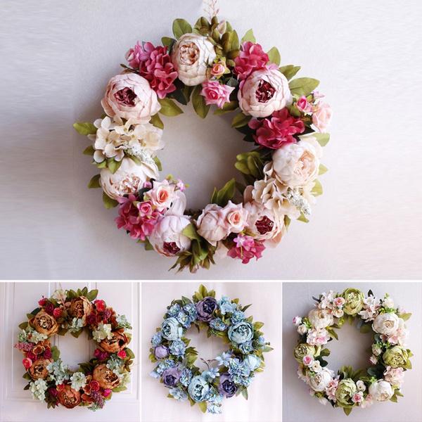 peonywreath, Decor, Flowers, Door