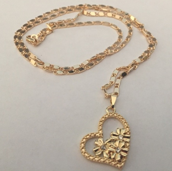Heart, Chain Necklace, Flowers, Jewelry