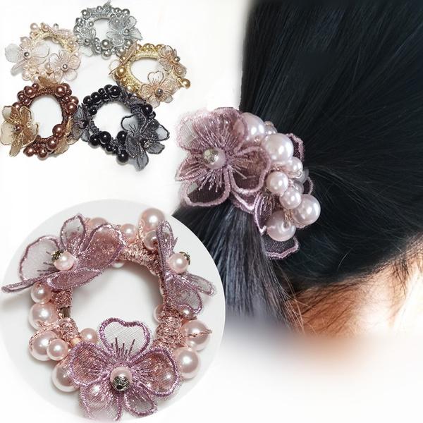 pearlhairband, Beaded, flowerhairband, pearls