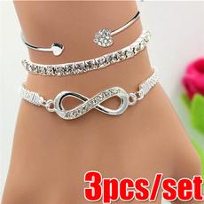 Charm Bracelet, infinity bracelet, setof3braceletset, Love