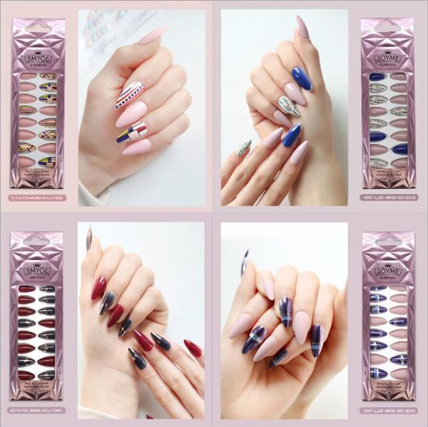 Nails, nail stickers, Almonds, 24falsenail