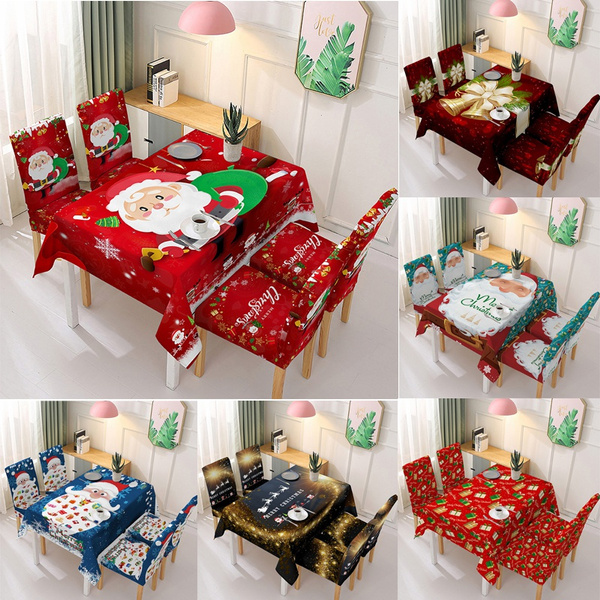 Christmas Waterproof Tablecloth Chair Set Kitchen Dining Table Decorations Santa Claus Print Table Chair Covers Christmas Ornaments Wish