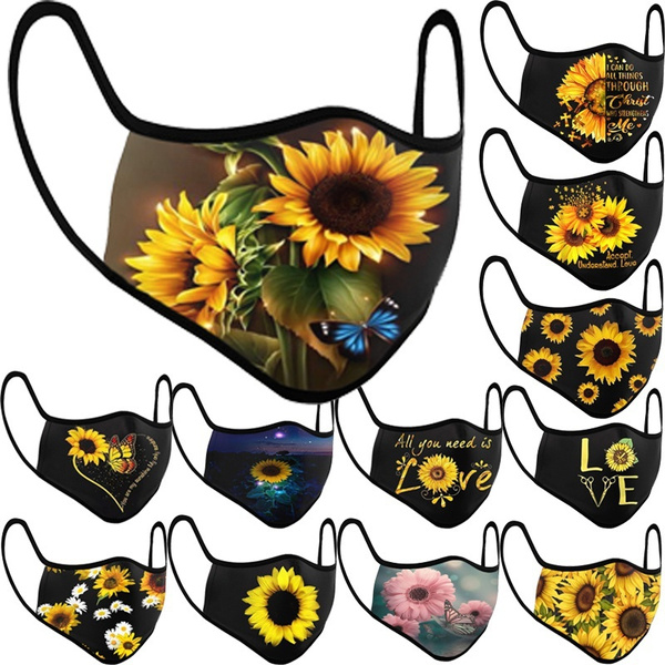 butterfly, Outdoor, mouthmask, Sunflowers