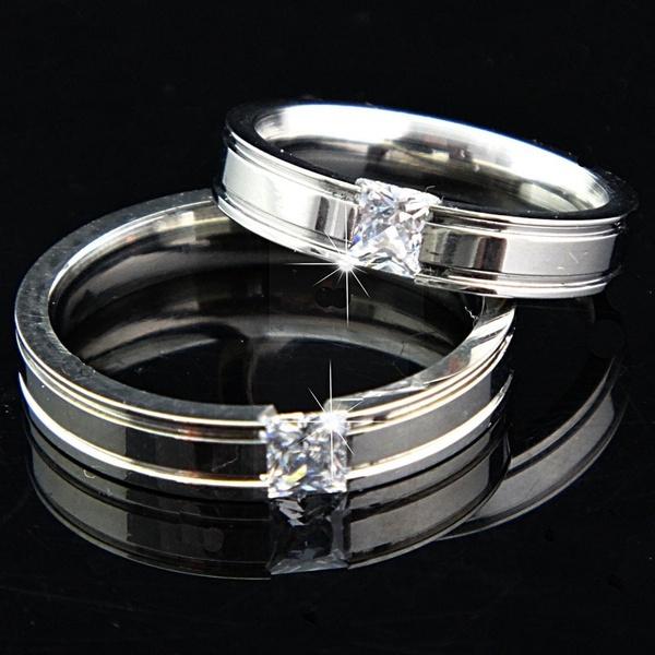 Cubic Zirconia, White Gold, Engagement Wedding Ring Set, wedding ring