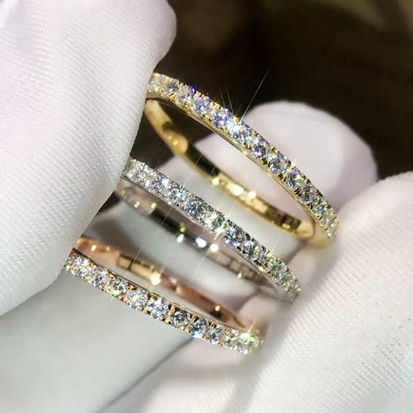 Sterling, crystal ring, wedding ring, 925 silver rings