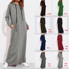 Plus Size, Hoodies, Sleeve, long dress