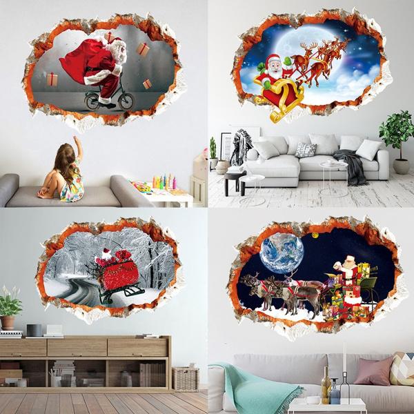 Cycling, Home Decor, Santa Claus, Stickers