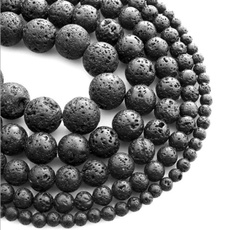 beadspacer, Jewelry, naturalbead, blacklavabeadsspacer