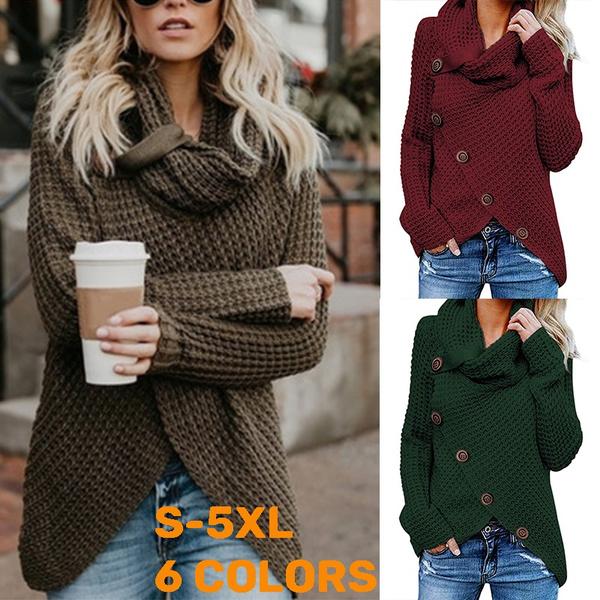 fashion women, Plus Size, Winter, solidcolortop