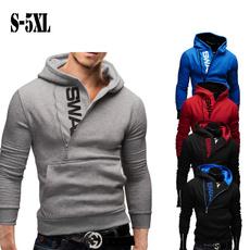 hoodiesformen, Plus Size, letter print, Long Sleeve