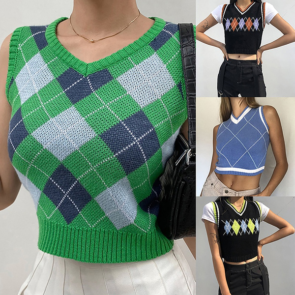 Vest, Fashion, knittedcropsweater, knitted
