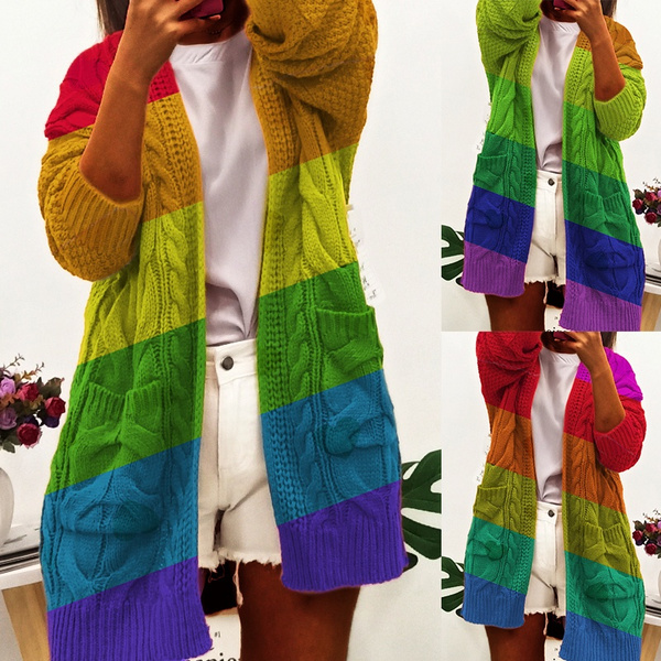 autumnwinter, rainbow, withpocket, sweaters for women