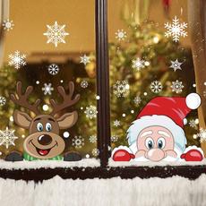 elk, Fashion, glasssticker, Santa Claus