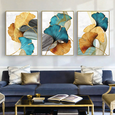 Blues, yellow gold, Plants, Modern