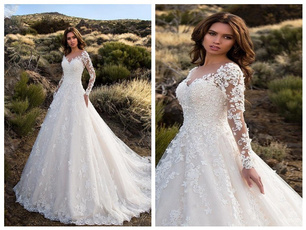 Shoulder, Dresses, Long Sleeve, Bride