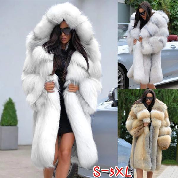 fur coat, Plus Size, Women's Fashion, hooded