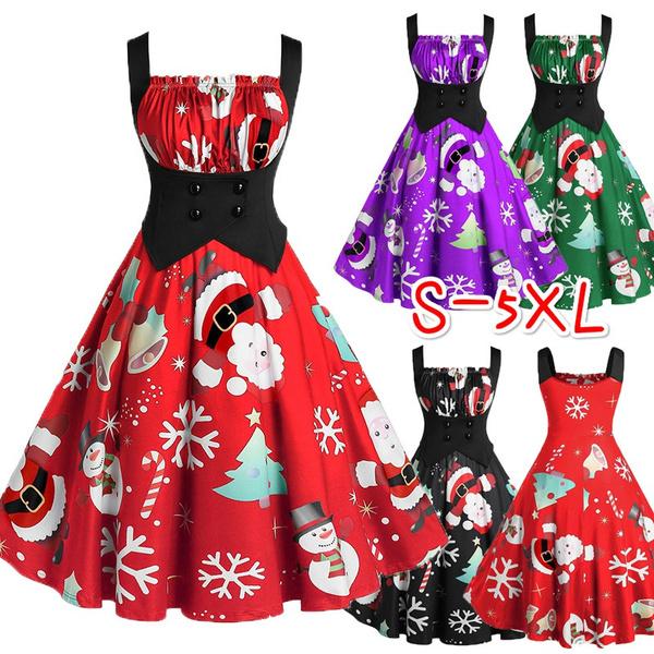 Ladies Women Vintage Christmas Snowflake Print Off Shoulder A Line Swing Dress