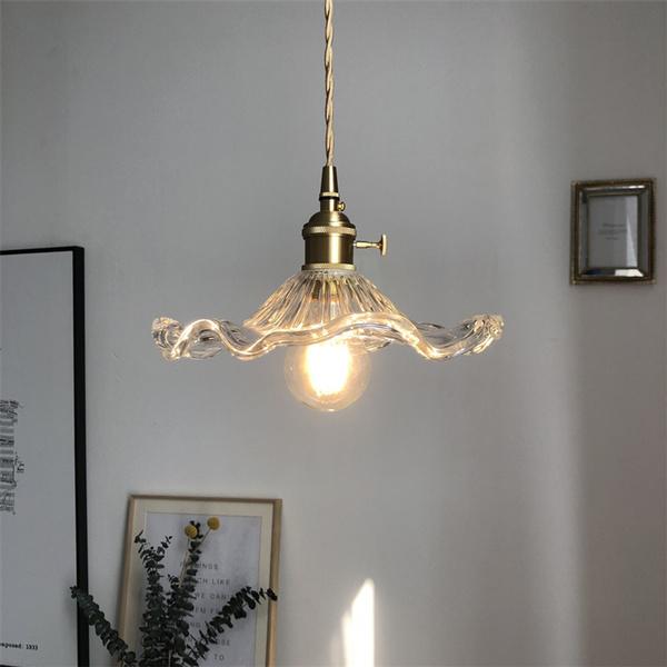 bedside, Brass, pendantlight, glasslamp