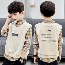plaid shirt, Boy, Vest, plaid