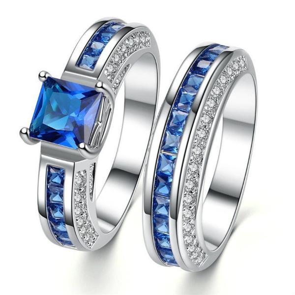 Sterling, Blues, Engagement Wedding Ring Set, wedding ring