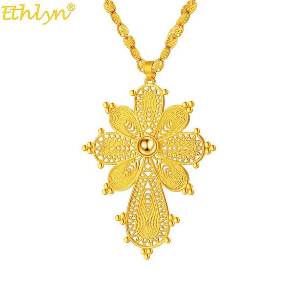 Copper, ethiopianeritreancros, gold, chain50cm