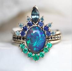 Blues, crystal ring, wedding ring, 925 silver rings