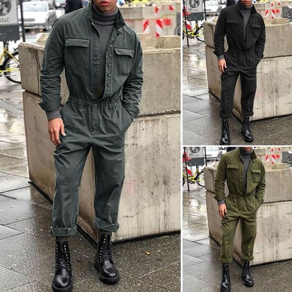 Polyester, autumnjumpsuit, menplaysuit, Military
