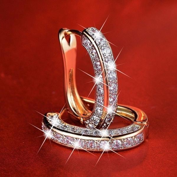 Sterling, DIAMOND, Dangle Earring, gold
