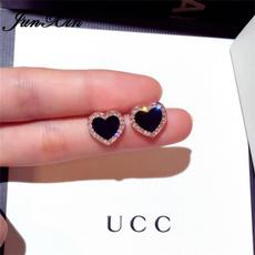 Heart, DIAMOND, Gemstone Earrings, gold