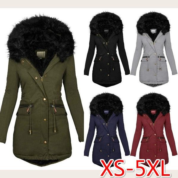 Plus Size, Long Sleeve, fur collar, coatandjacketforwomen
