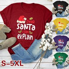 Plus Size, letter print, christmasfashion, print shirt