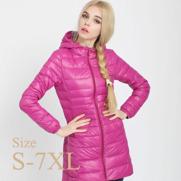 Down Jacket, hooded, Winter, slim long