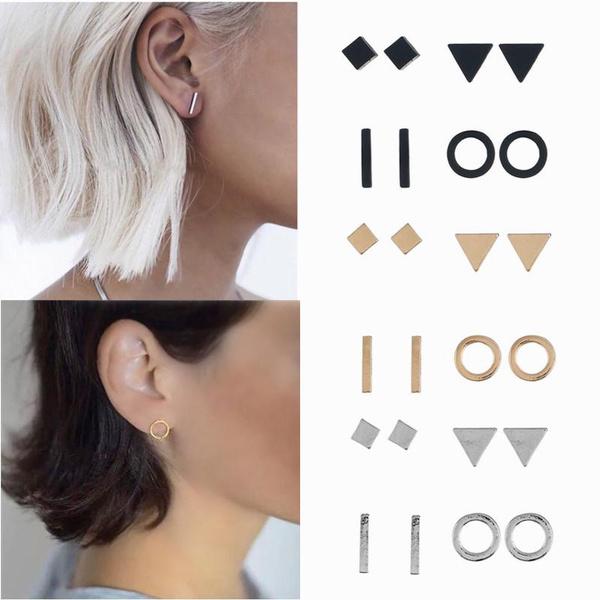 geometricearring, charmearring, Triangles, 4pair