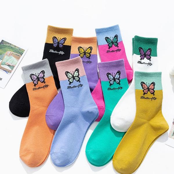 butterfly, Kawaii, Cotton Socks, Socks
