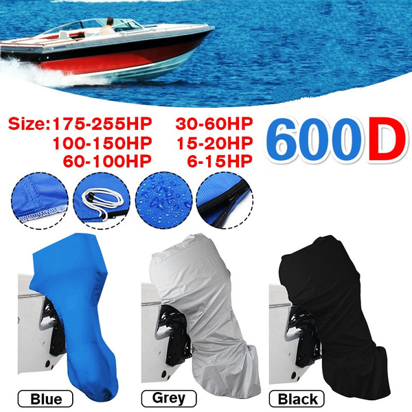 600D Full Outboard Engine Boat Cover Blue Fit Up To 100-150HP Motor