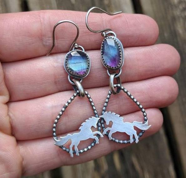 Sterling, Hoop Earring, Jewelry, Blue Sapphire