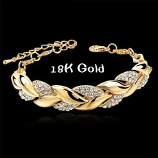 Charm Bracelet, 18k gold, leaf, Jewelry