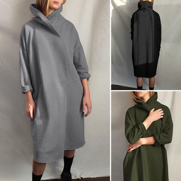 Women, long sleeve dress, Sleeve, fleecedres