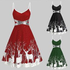 deerprintdre, Sleeveless dress, Plus Size, Christmas