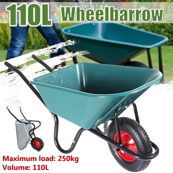 110L Wheelbarrow Heavy Duty Barrow Garden Builders Pneumatic Tyre Steel 250KG