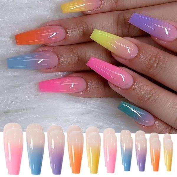 rainbow, acrylic nails, Fake Nails, nail tips