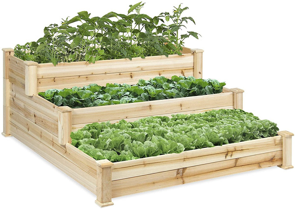 raised, Natural, planter, Wooden