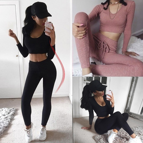 Two-Piece Suits, Cropped Hoodie, Home & Living, elasticsuit