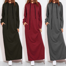 hooded, sweater dress, Sleeve, long dress