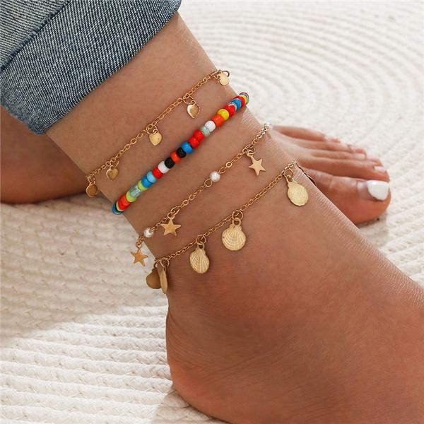 Summer, footchainankle, Fashion, numberankletbracelet