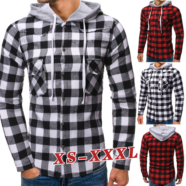 plaid shirt, hoodiesformen, plaid, hooded