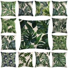 palmpillow, tropicalplant, linenpillow, Home